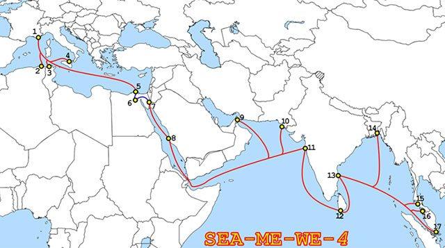 Rota do cabo submarino Sea-Me-We 4, construído em 2005 pela Alcatel- Lucent e Fujitsu