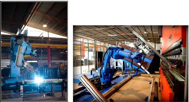 À esquerda, robô de soldadura; à direita, robô de dobradura de chapa.