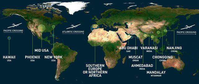 Mapa da rota a ser realizada pelo Solar Impulse 2