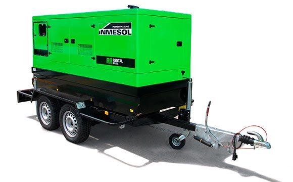 Grupo eletrogéneo da Gama Rental num trailer (kit móvel) de alta velocidade