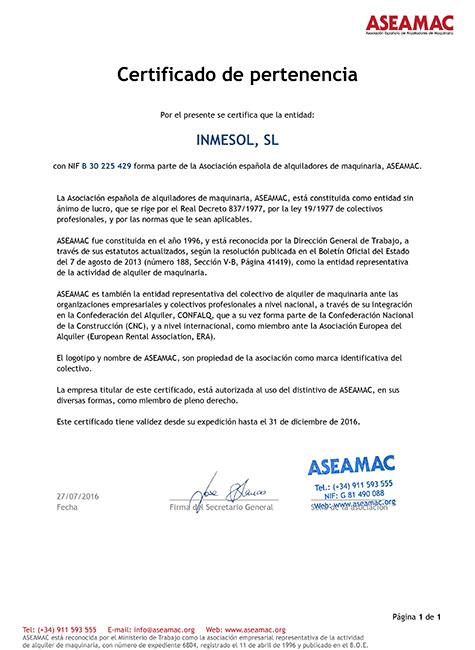 ASEAMAC, Certificado de membro
