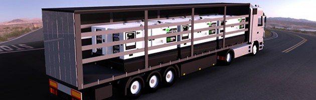 Infografia de um camião de 40 pés a transportar 6 Un. dos modelos de grupos electrogéneos de modelo IRN-165, IVRN-145 e IVRN-165