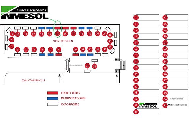 Mapa do local: área de exibição e área de conferências