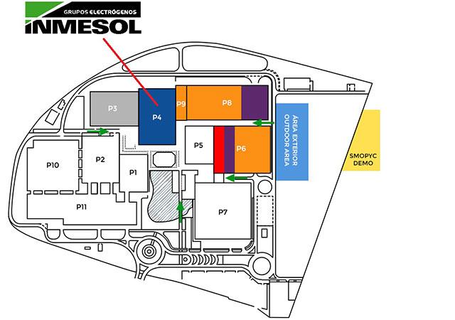 Situação da cabina da INMESOL dentro do FERIA DE ZARAGOZA na SMOPYC