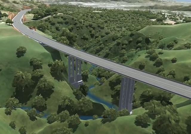 Infografia da ponte da futura autoestrada Gully