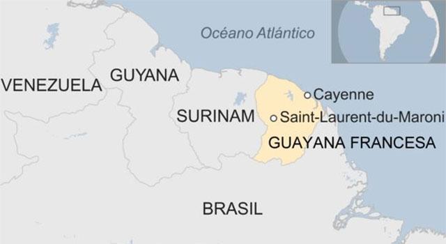 Mapa da localização do centro Espacial Europeu de Kourou ou Centro Espacial da Guiana