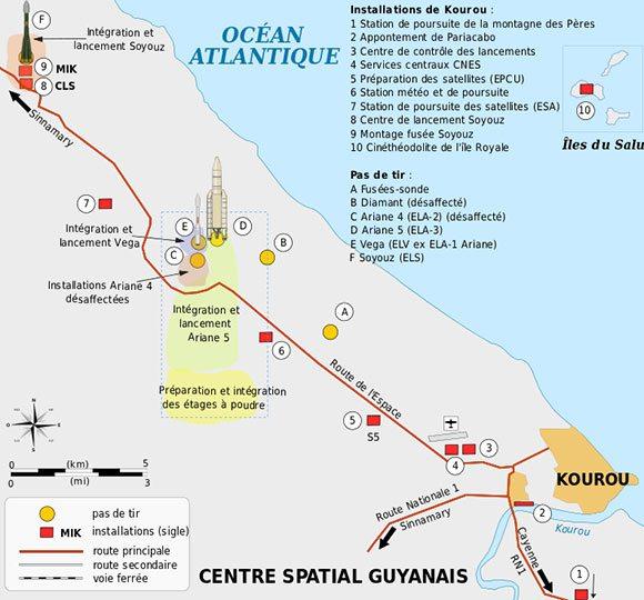Mapa de localização das torres de lançamento. Imagem: Wikipedia